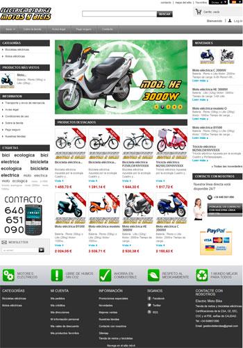 tienda motos bicicletas electricas prestashop dropshipping