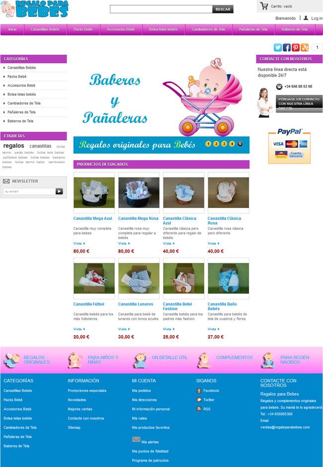 Tienda en prestashop de regalos para bebes
