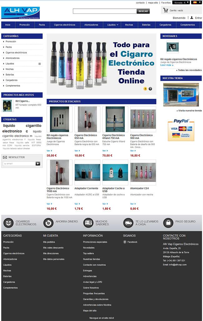 Tienda online + blog de cigarrillos electrónicos